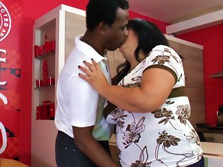 Black Cock Pushing Balls Deep Into A Sexy Fat Girl Pussy